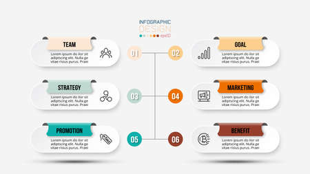 6 step process work flow infographic template.
