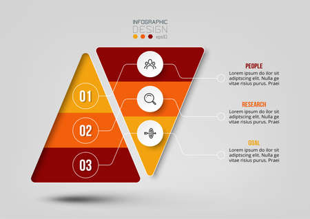 Pyramid business work flow infographic template.
