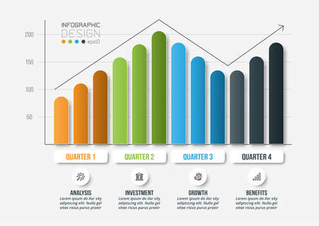 Infographic business template with graph or chart design. 向量圖像