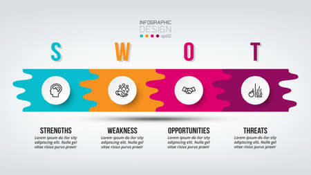 swot analysis business or marketing  infographic template. 向量圖像