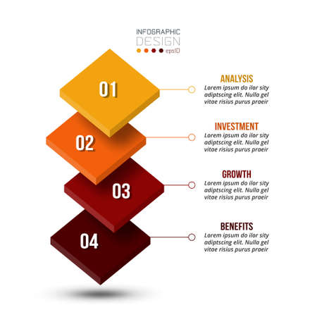 4 step process work flow infographic template. 版權商用圖片 - 167801978