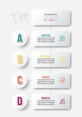 Business concept infographic template with workflow. 向量圖像