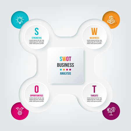 Business concept infographic template with swot analysis.