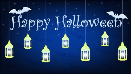 Dark blue Happy Halloween banner, on the inscription are two white bats, in the background are beautiful luminous stars, and in the foreground are lamps that are suspended from the sky