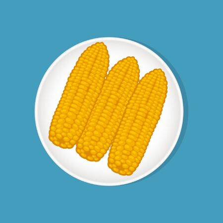 Corn on a white plate for Thanksgiving. Vector illustration on a blue isolated background