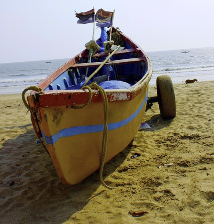 View of a old boat at beach  photo