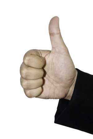 unrecognizable person: Close-up cropped shot of a businessman gesturing thumbs up.