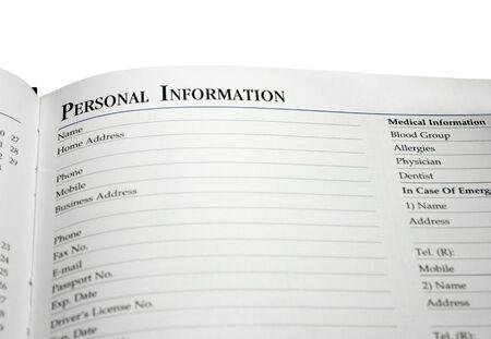 Página de información personal Foto de archivo