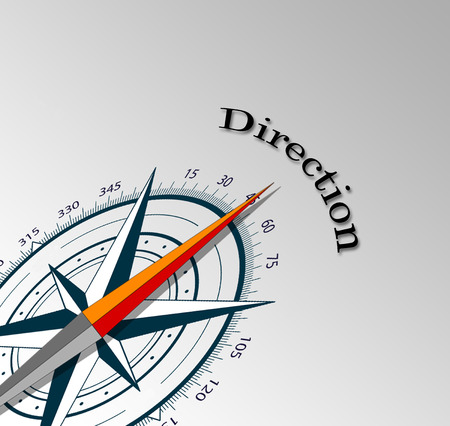 information medium: illustration of compass with direction word Stock Photo