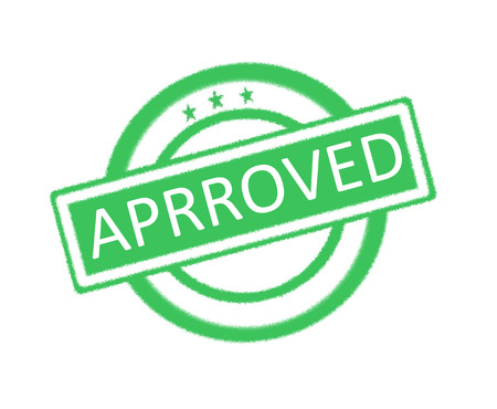consent: Illustration of green rubber stamp with approved written on it Stock Photo
