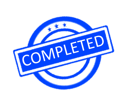 completed: Illustration of completed word on blue rubber stamp