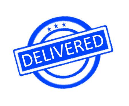 delivered: Illustration of delivered word on blue rubber stamp