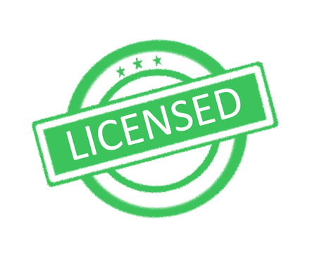 qualify: Illustration of licensed word on green rubber stamp Stock Photo