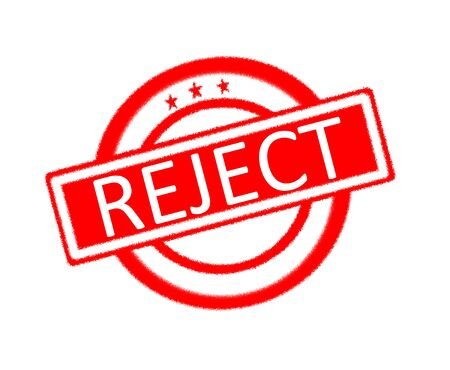 expressing negativity: Illustration of reject word written on red rubber stamp