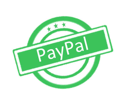 paypal: Illustration of PayPal written on green rubber stamp Stock Photo