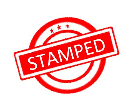 sward: Illustration of Stamped word written on red rubber stamp