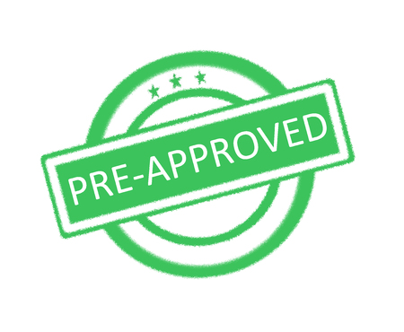 authorise: Illustration of Pre-Approved written on green rubber stamp Stock Photo