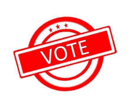designate: Illustration of vote written on red rubber stamp