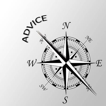 advise: Illustration of Advise written aside compass
