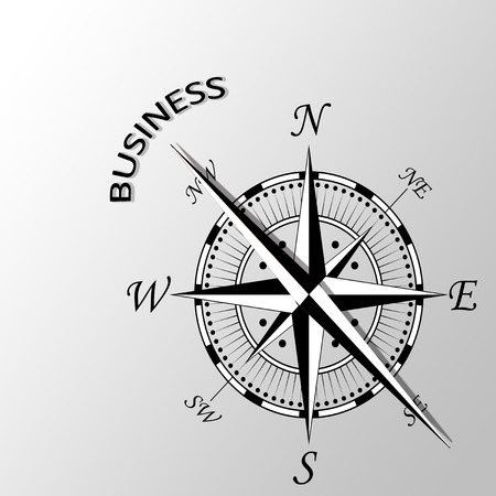 aside: Illustration of business written aside compass Stock Photo