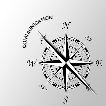 comunicación escrita: Ilustración de la comunicación escrita a un lado la brújula