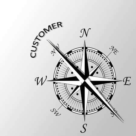 latitude: Illustration of Customer written aside compass Stock Photo