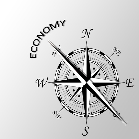 latitude: Illustration of Economy word written aside compass Stock Photo