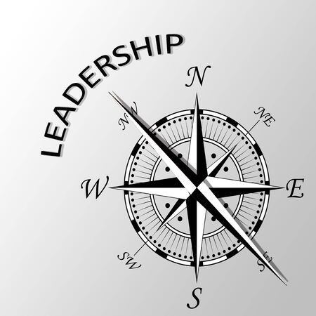 Illustration of leadership written aside compass Stock Photo