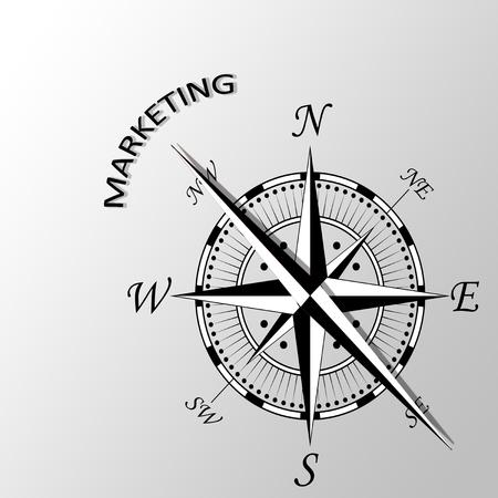 Illustration of marketing written aside compass Stock Photo