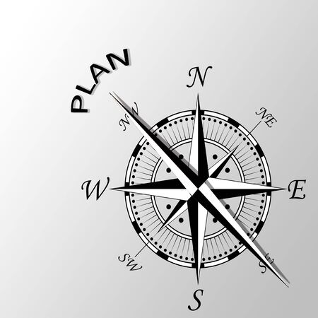 Illustration of plan written aside compass