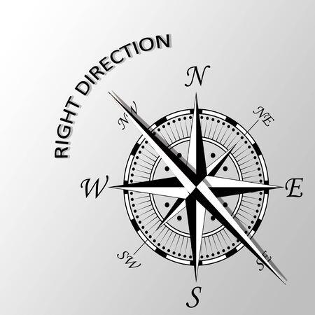 Illustration of Right direction written aside compass Stock Photo