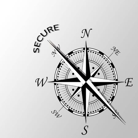 dependable: Illustration of secure word written aside compass