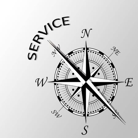 aside: Illustration of service written aside compass Stock Photo
