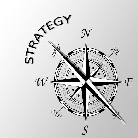 Illustration of Strategy written aside compass Stock Photo