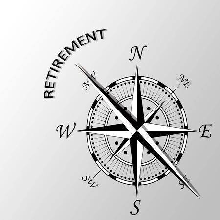Illustration of retirement written aside compass