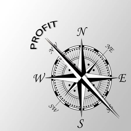 economic revival: Illustration of profit written aside compass Stock Photo