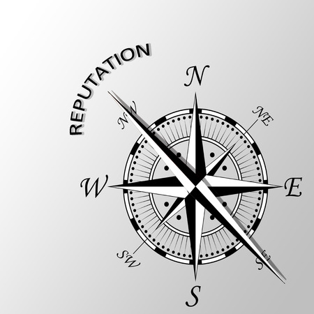 Illustration of reputation word written aside compass