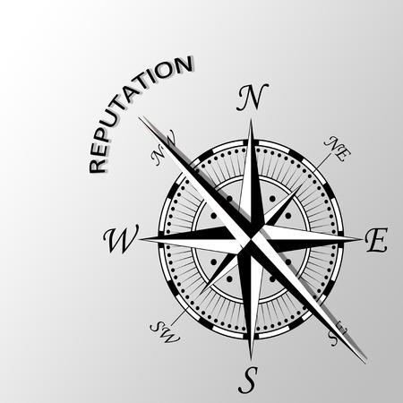 Illustration of reputation word written aside compass