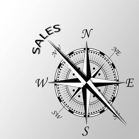 latitude: Illustration of sales written aside compass