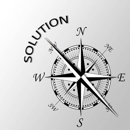 exposición: Ilustración de Solución escrito a un lado la brújula Foto de archivo