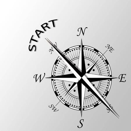 originate: Illustration of start word written aside compass