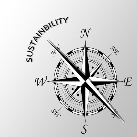 acceptable: Illustration of sustainability written aside compass Stock Photo