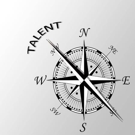 Illustration of talent written aside compass