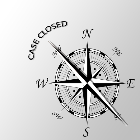 proceedings: Illustration of case closed written aside compass