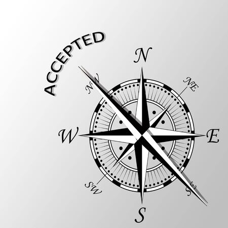 Illustration of accepted word written aside compass