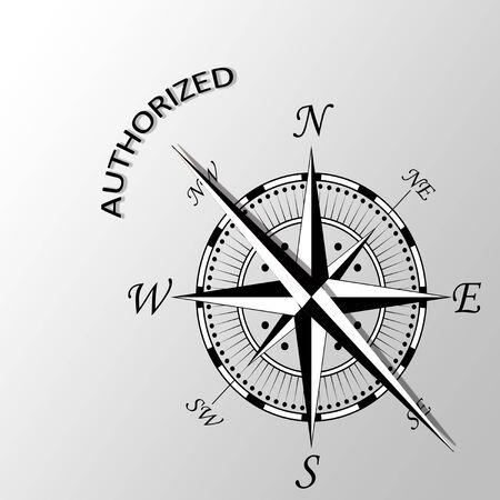 authorized: Illustration of authorized word written aside compass Stock Photo