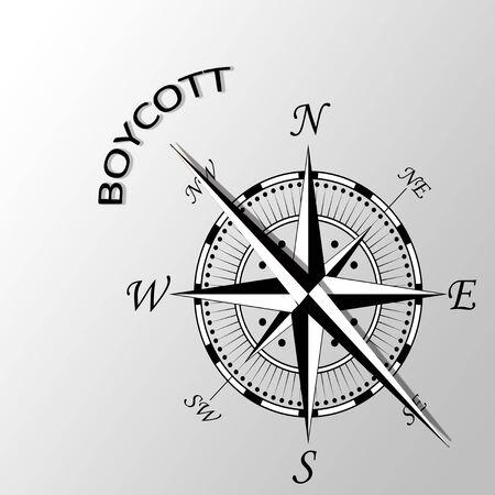 Illustration of boycott word written aside compass