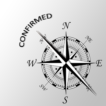 confirmed: Illustration of confirmed word written aside compass