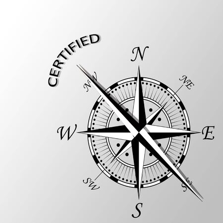 authorise: Illustration of certified word written aside compass