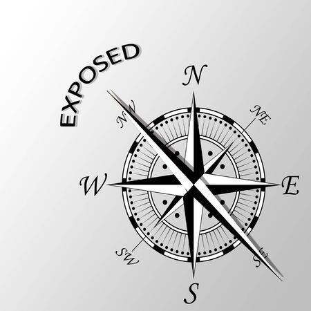 exposed: Illustration of exposed word written aside compass Stock Photo